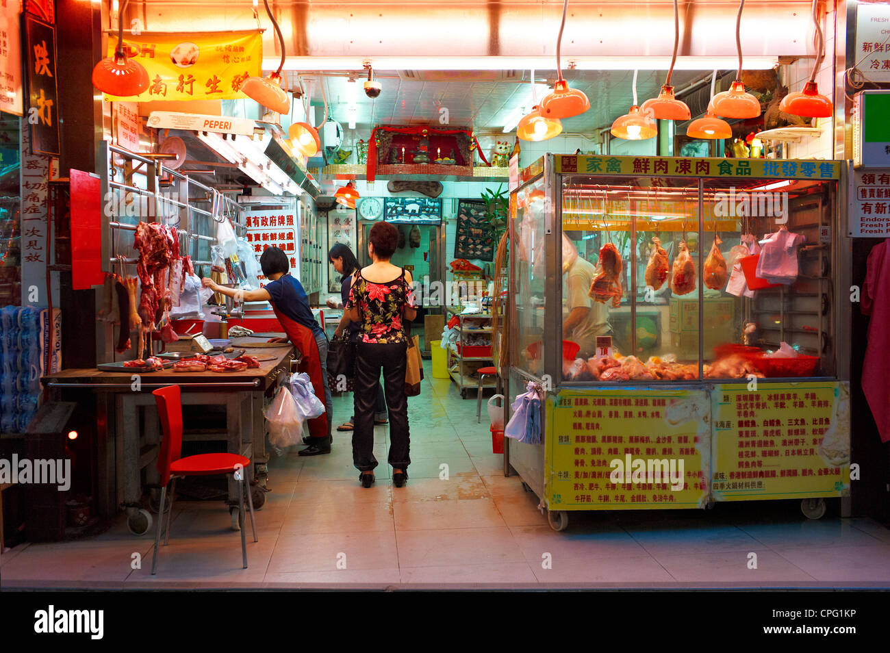 Street vendors at an outdoor wet market in Central Hong Kong, China. September 2011. - Stock Image
