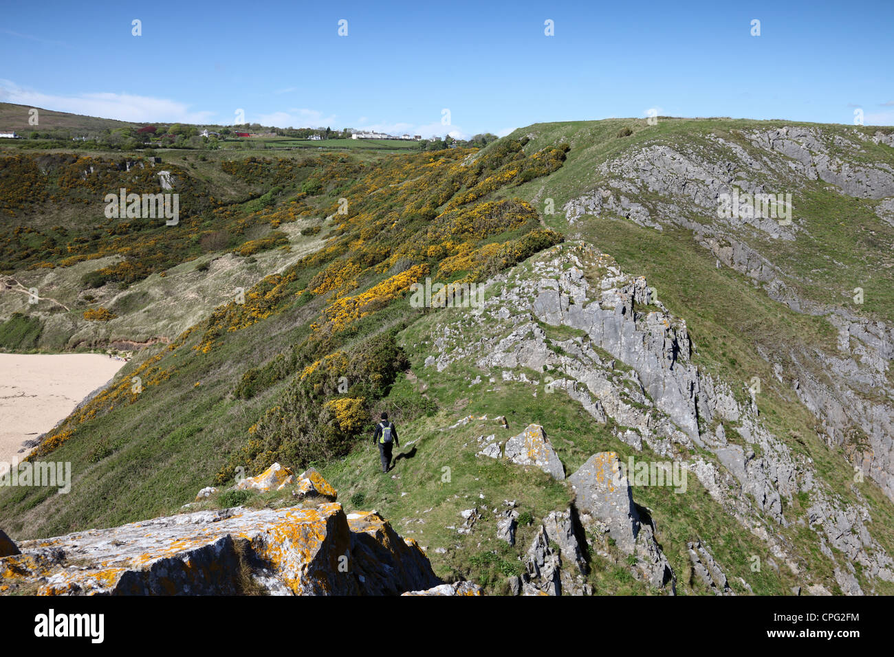 The View From Great Torr to Penmaen Burrows Oxwich Bay Gower Wales UK Stock Photo