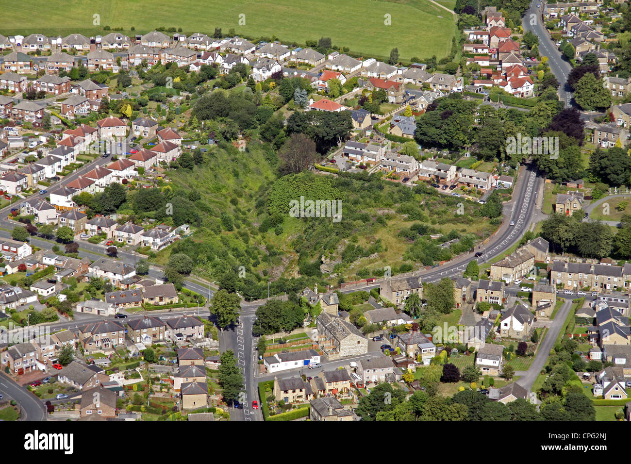 Aerial view of former Pond Quarry, Lightcliffe Road, Brighouse - Stock Image