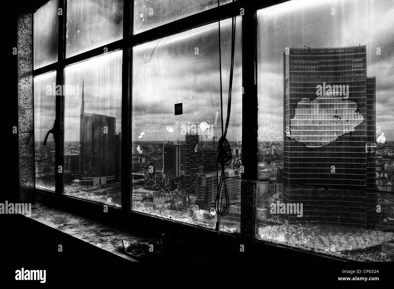 View from Galfa Tower skyscraper, Milan, Italy - 2012 - Stock Image
