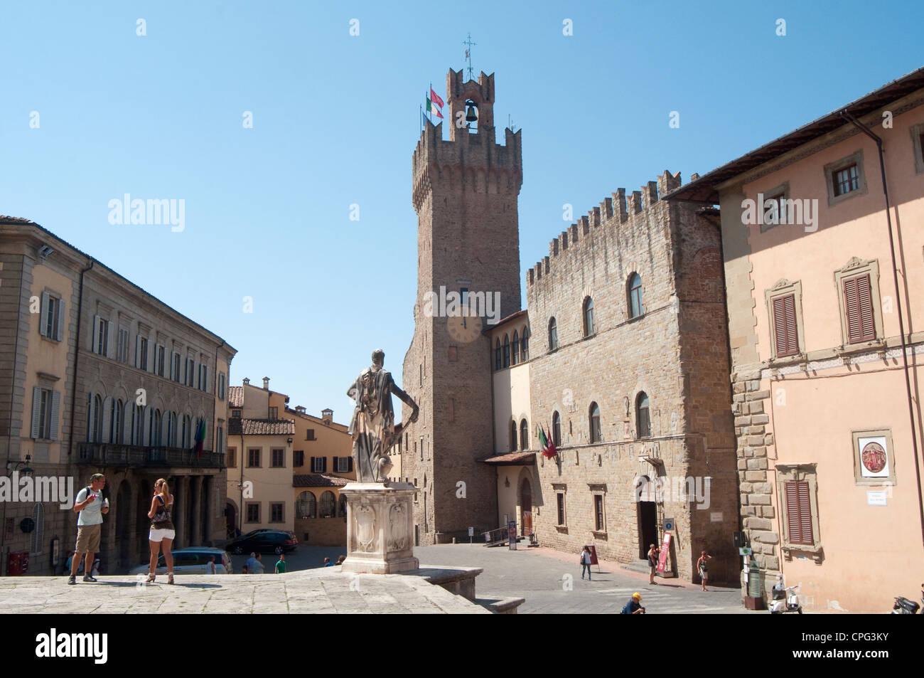 Italy, Tuscany, Arezzo, Piazza della Liberta Square, Town Hall - Stock Image