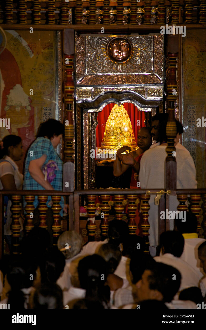 Golden casket containing the tooth relic, Temple of the Tooth or Sri Dalada Maligawa, Kandy, Sri Lanka - Stock Image