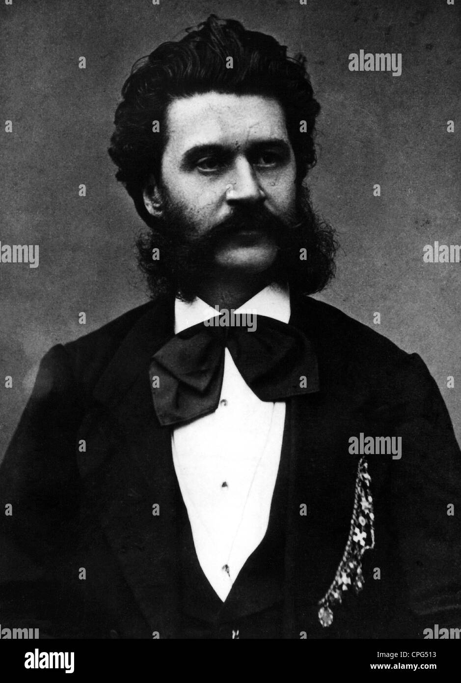 Strauss, Johann II (the Younger), 25.10.1825 - 3.6.1899, Austrian composer, portrait, Additional-Rights-Clearances Stock Photo