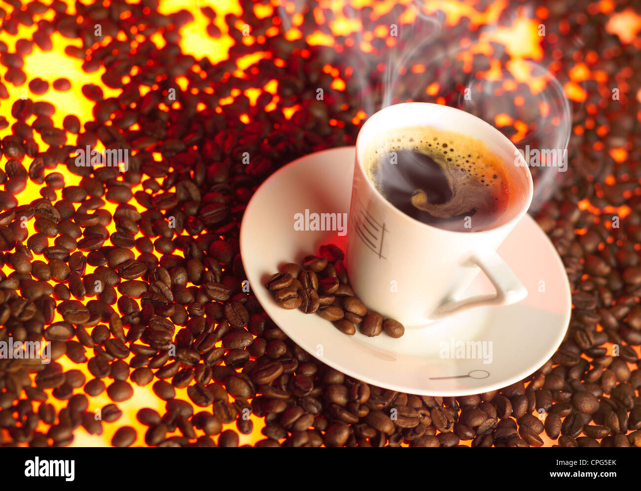 Cup of coffee over toasted coffee beans Stock Photo