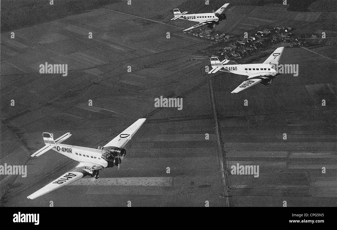 transport / transportation, aviation, aeroplanes, three Junkers Ju 52, flying, 1930s, , Additional-Rights-Clearences - Stock Image