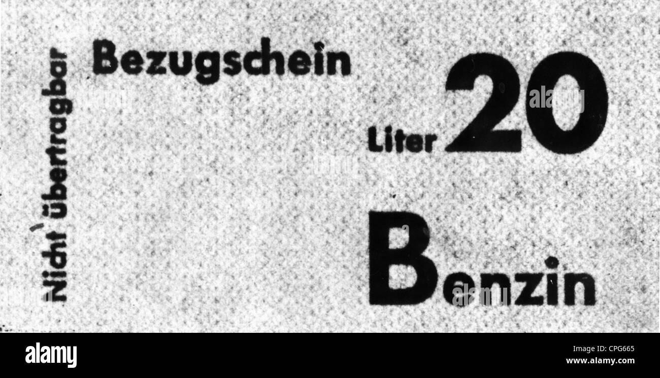 post war period, misery and hardship, Germany, fuel shortage, coupon for 20 litre petrol, 1946, Additional-Rights - Stock Image