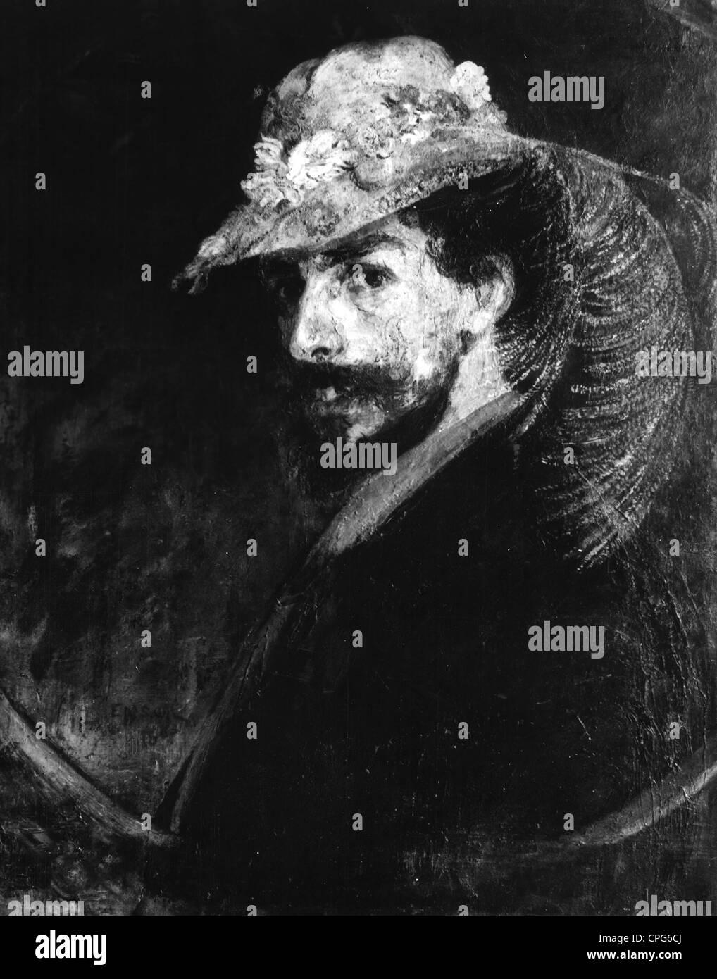Ensor, James, 13.6.1860 - 19.111949, Belgian artist (painter, etcher), self-portrait, 1898, Additional-Rights-Clearances - Stock Image