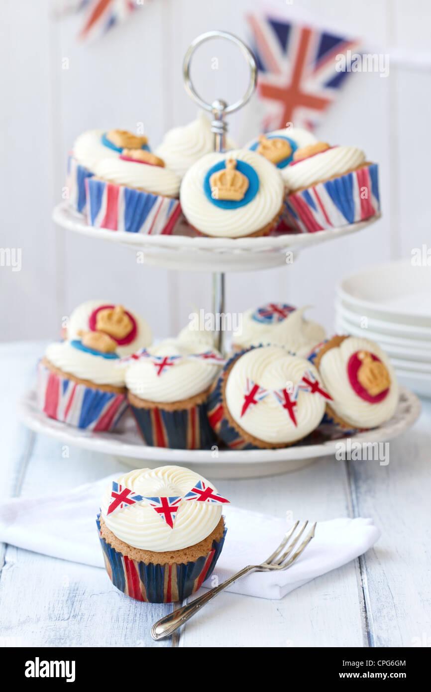 Diamond Jubilee cupcakes - Stock Image