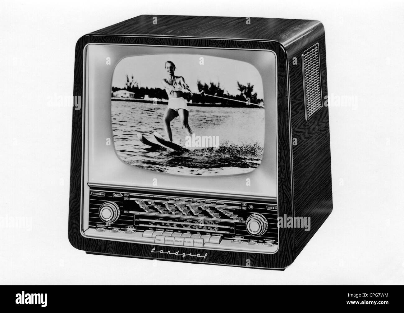 broadcast, television, Graetz TV set 'Landgraf', deluxe table version, 43 cm tube and TV automatic, 1950s, - Stock Image