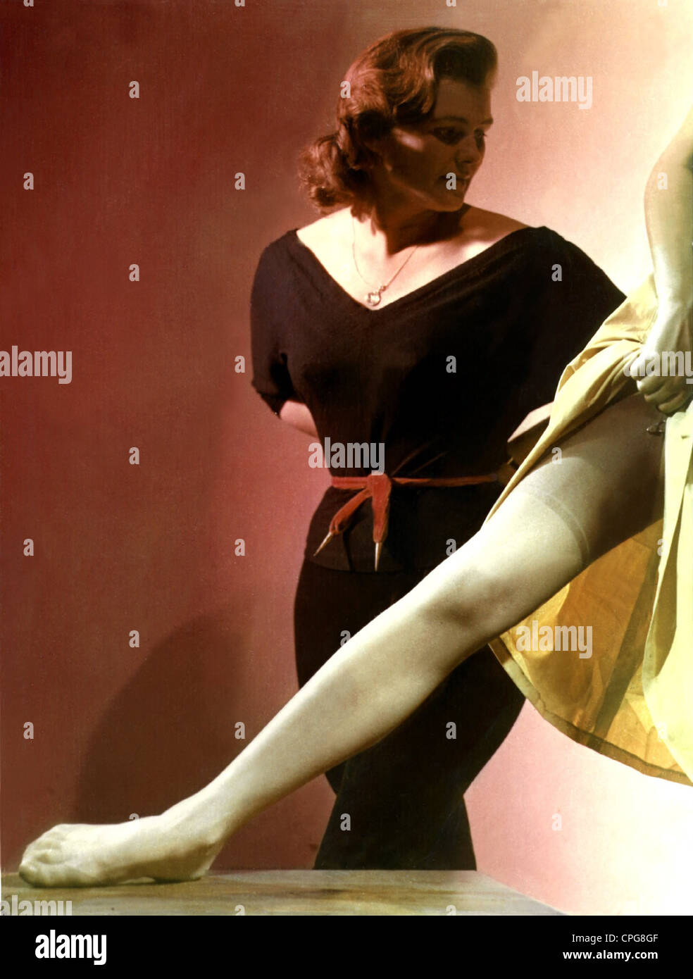 fashion, 1950s, ladies' fashion, underwear, stockings, Additional-Rights-Clearences-NA Stock Photo