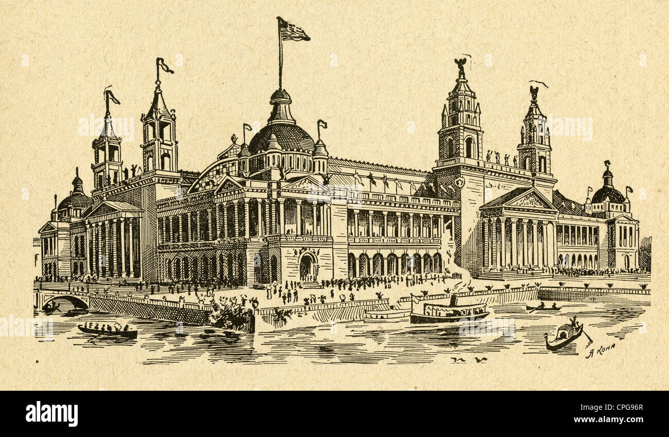Circa 1900s engraving, Machinery Hall, Chicago Exposition 1893. - Stock Image