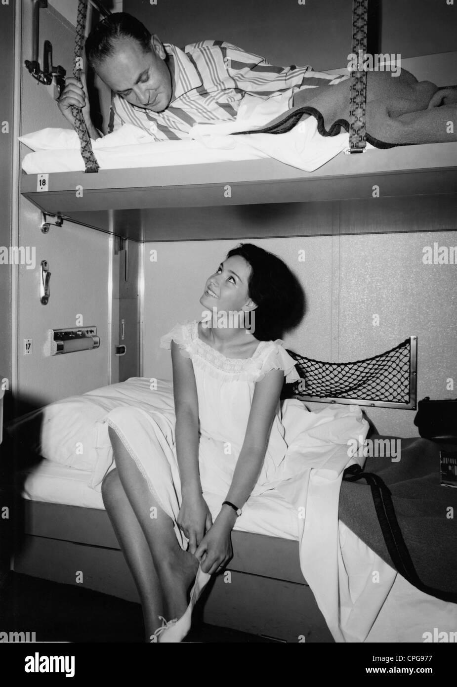 transport / transportation, railway, sleeping car, couple in sleeper cab, 1960s, , Additional-Rights-Clearences - Stock Image