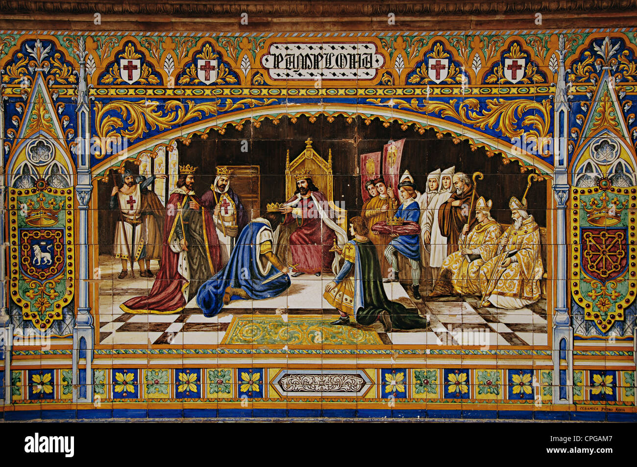Sancho III Garces, the Great (c.992-1035) distributing their kingdoms among their sons. Mosaic of the Spain's - Stock Image
