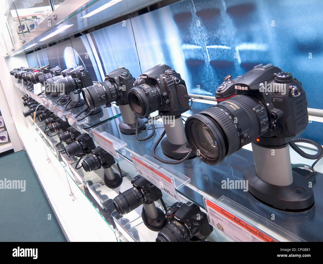 Rows of digital SLR cameras for sale in the FNAC outlet, La Cañada shopping centre, Marbella, Spain - Stock Image