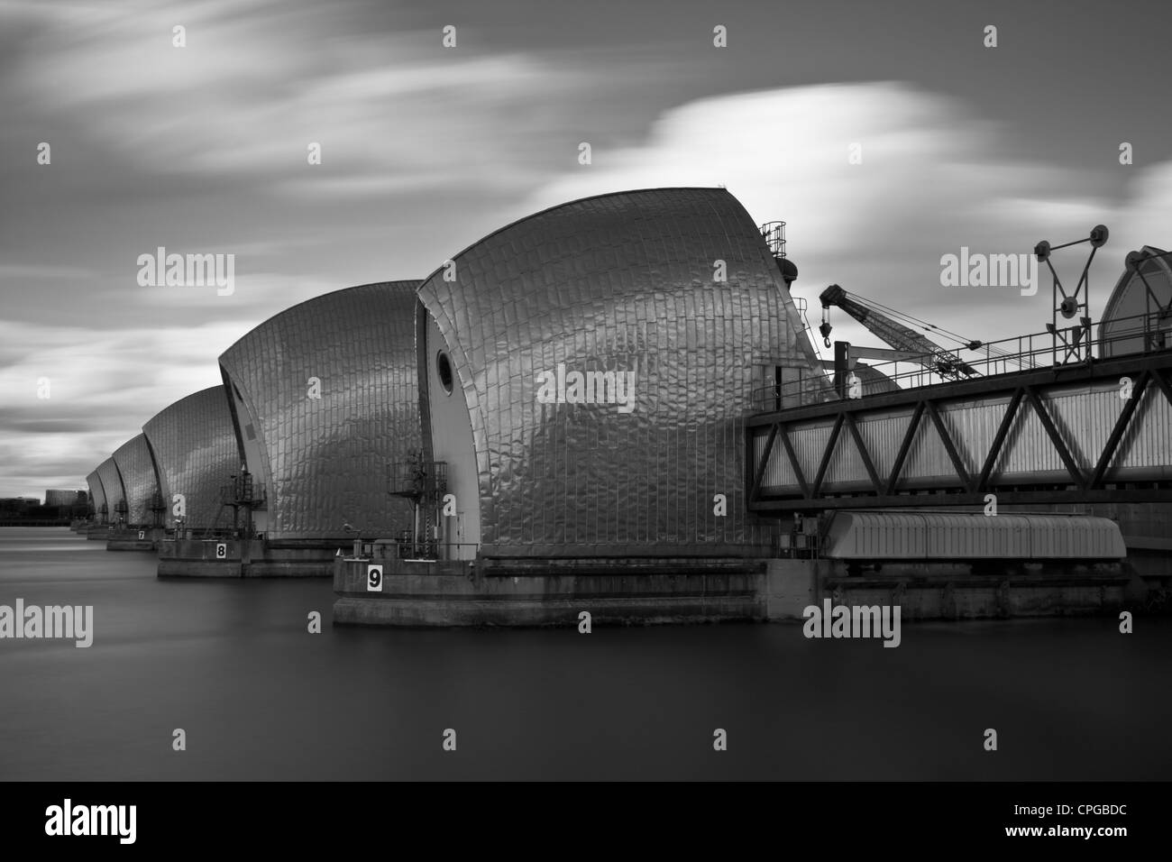 The River Thames Flood Barrier, London, England - Stock Image