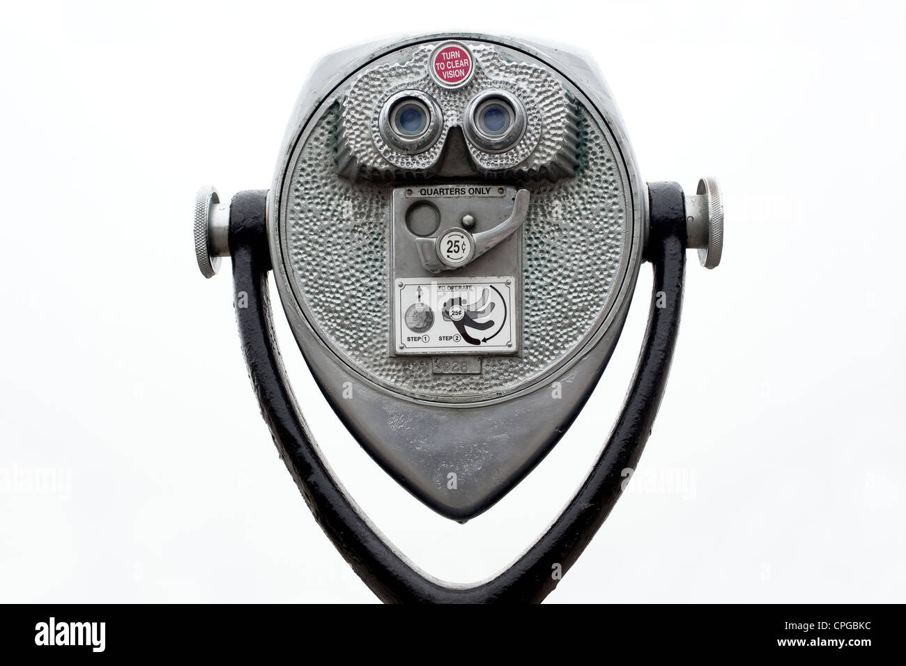 Coin operated binoculars on white - Stock Image