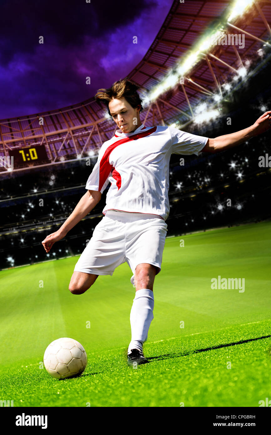 soccer or football player on the field - Stock Image