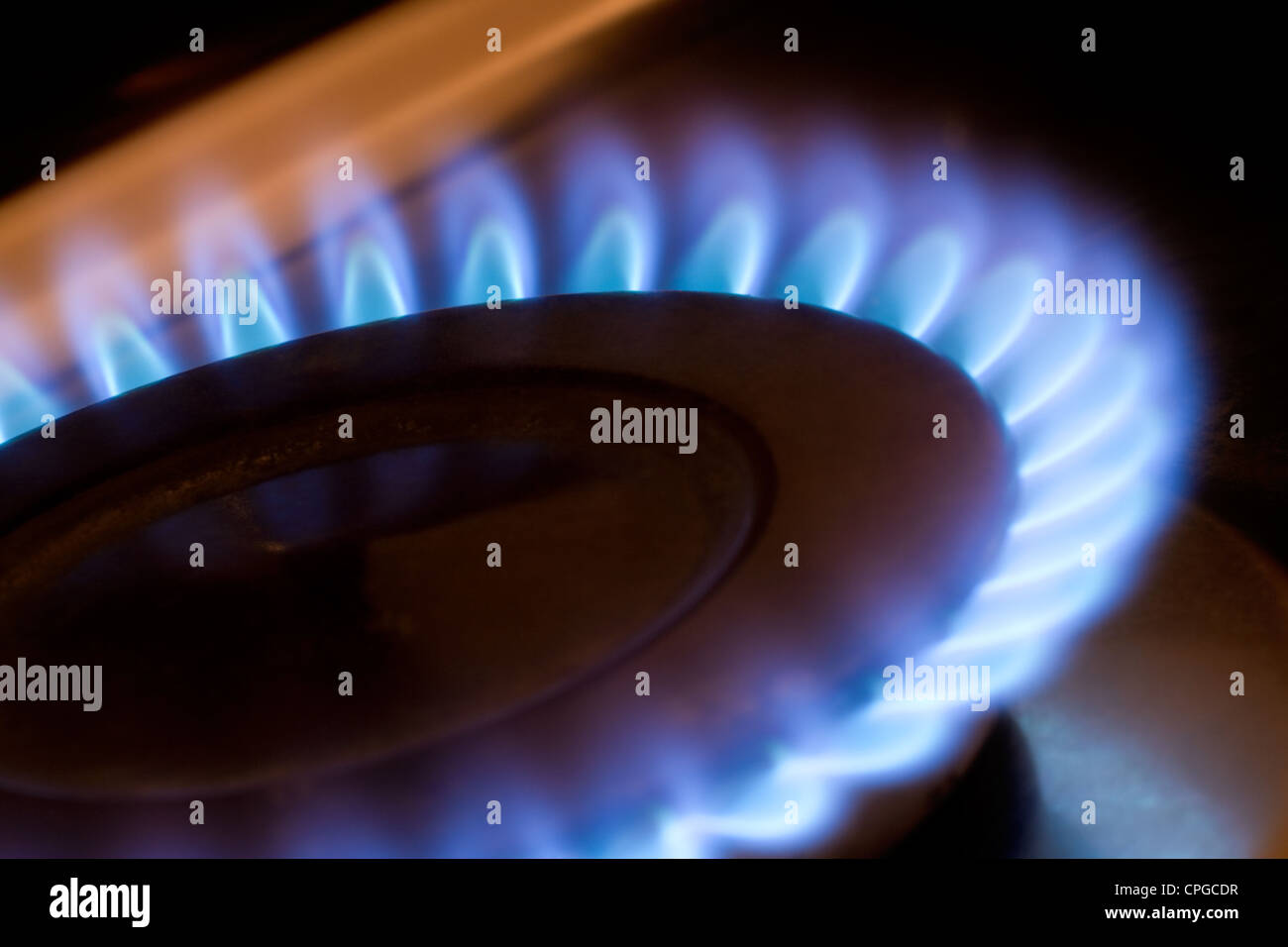 Gas flame on a kitchen hob - Stock Image