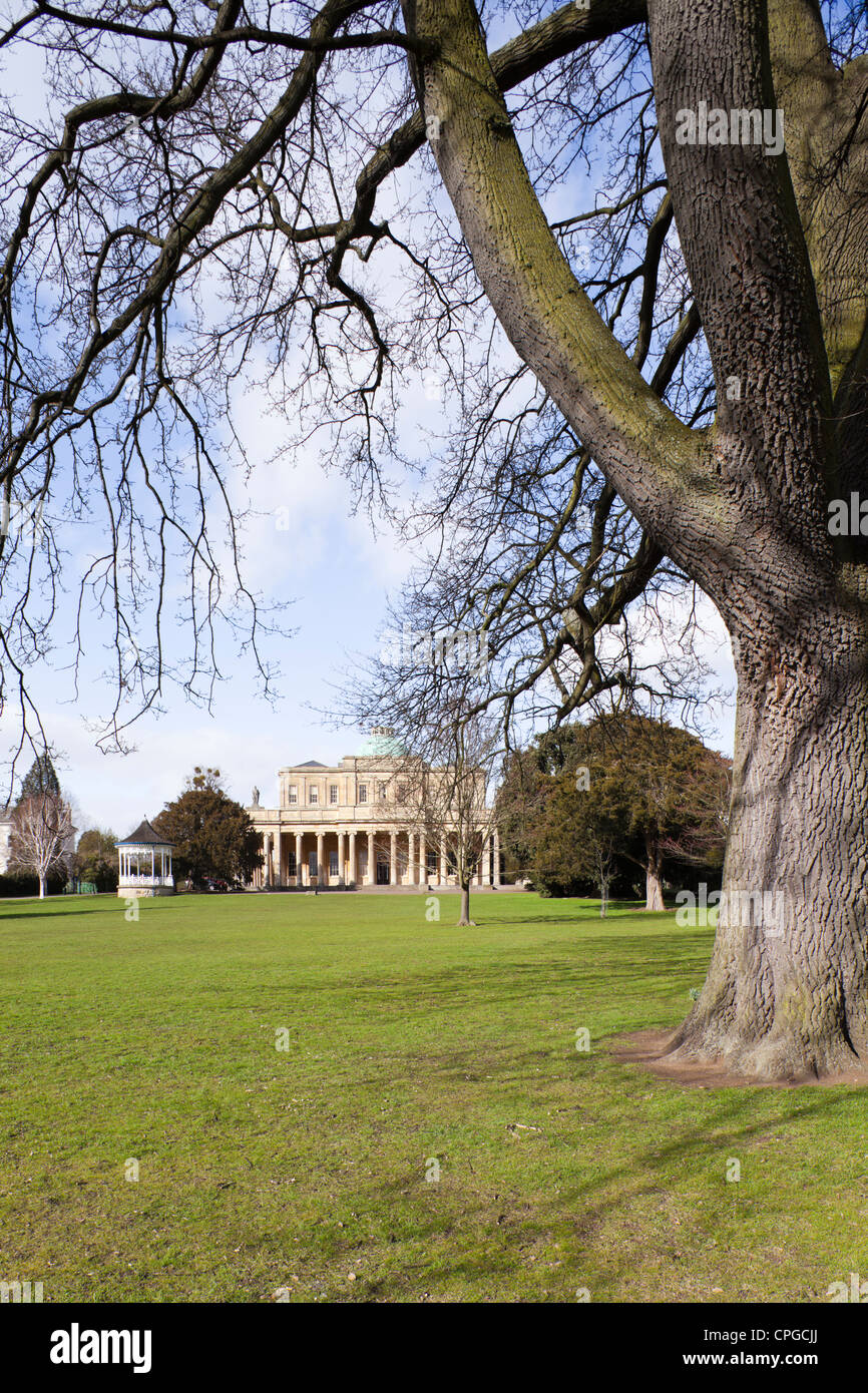 The restored Regency bandstand next to the Pittville Pump Rooms, Cheltenham Spa, Gloucestershire - Stock Image