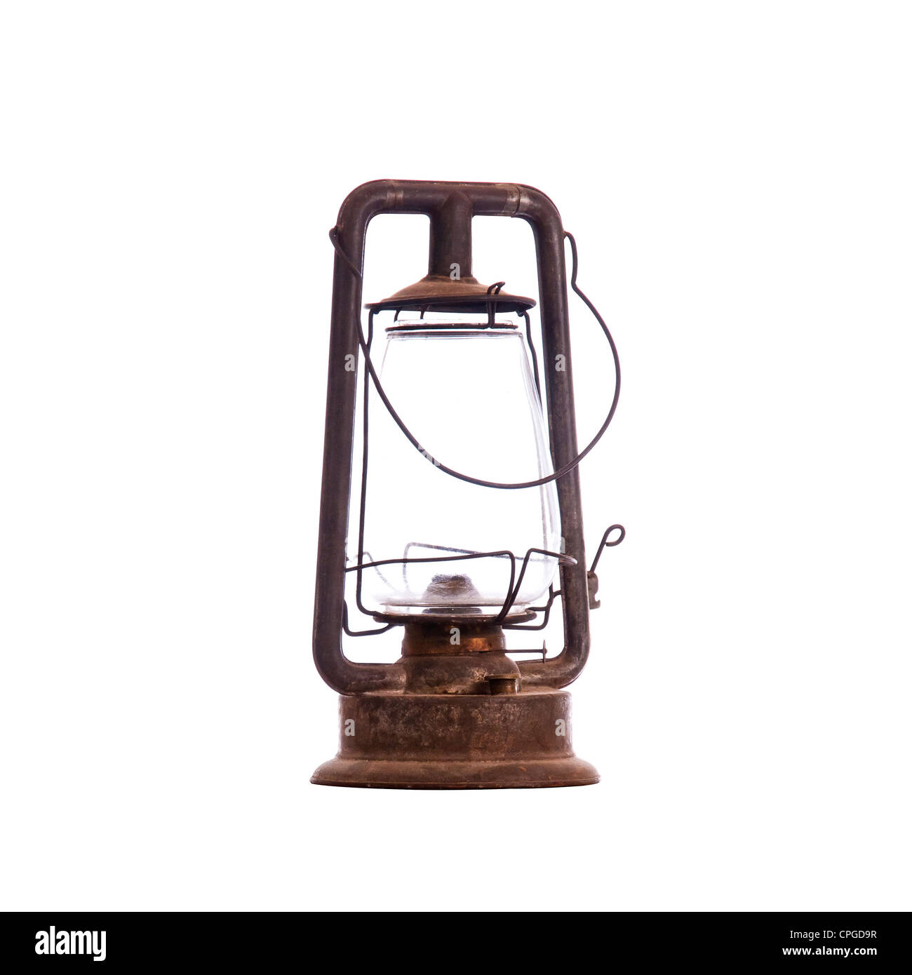 Old antique kerosene lantern isolated on white with a compound clipping path - Stock Image