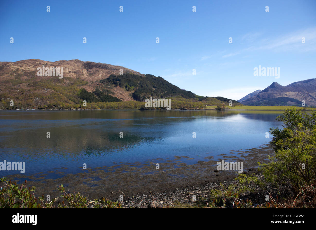 Loch leven sea loch looking east inland towards the pap of glencoe in the highlands scotland uk - Stock Image