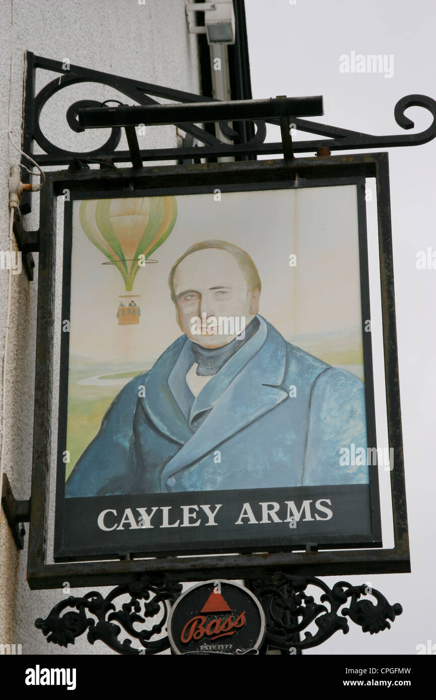 Cayley Arms Inn sign aviation pioneer Rhos on Sea Conway Wales - Stock Image