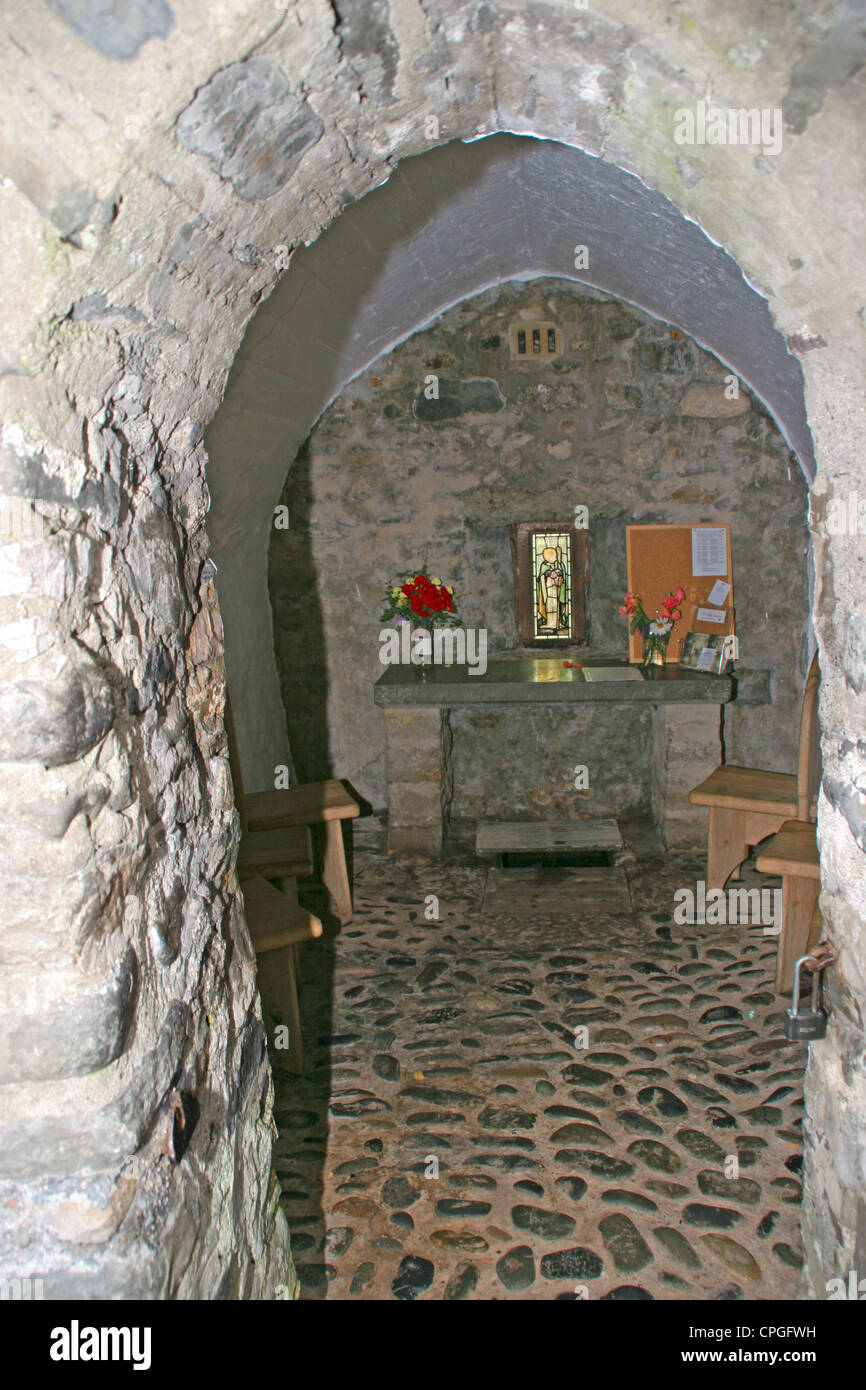 St Trillo Chapel interior Rhos on Sea Conway Wales - Stock Image