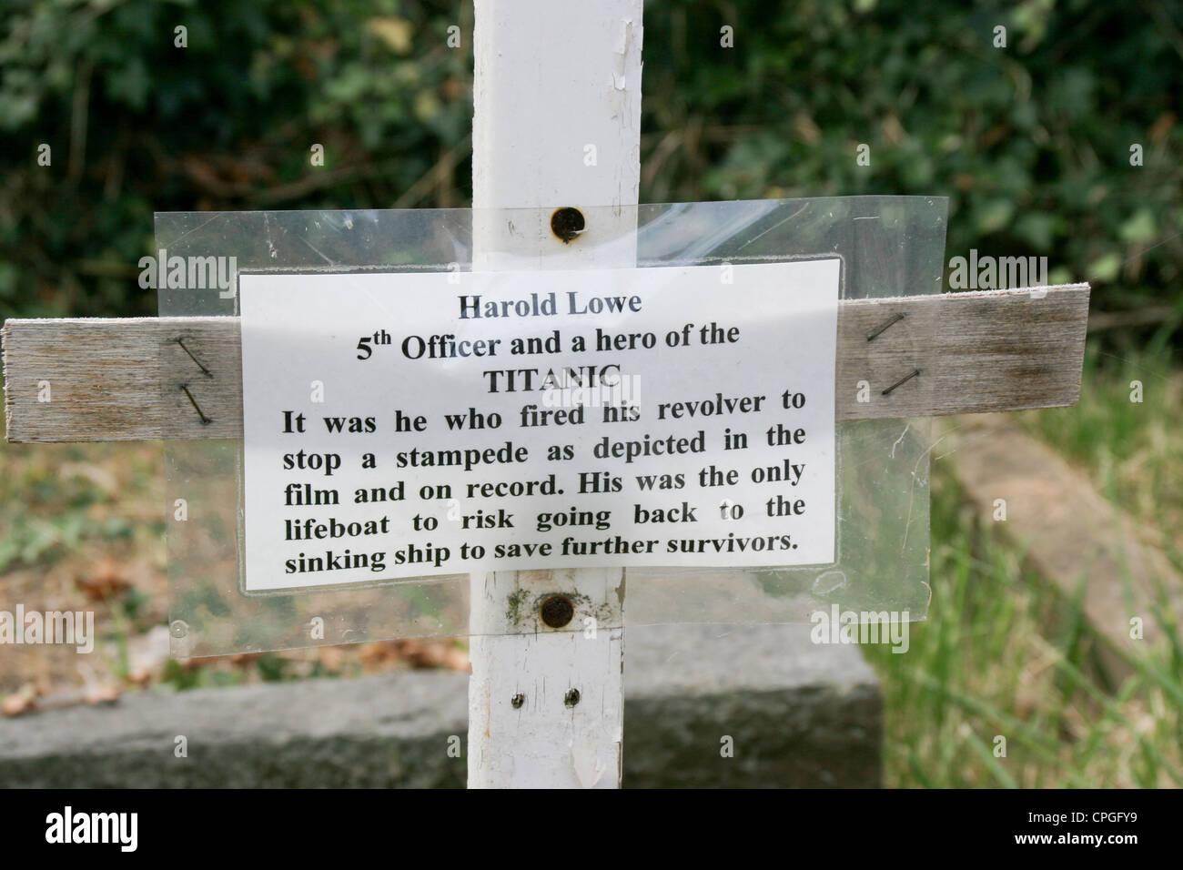 Harold Lowe Titanic hero cross Rhos on Sea Conway Wales - Stock Image