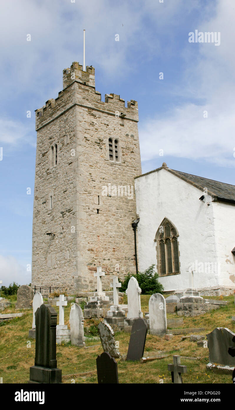 Llandrillo church tower lookout Rhos on Sea Conway Wales - Stock Image