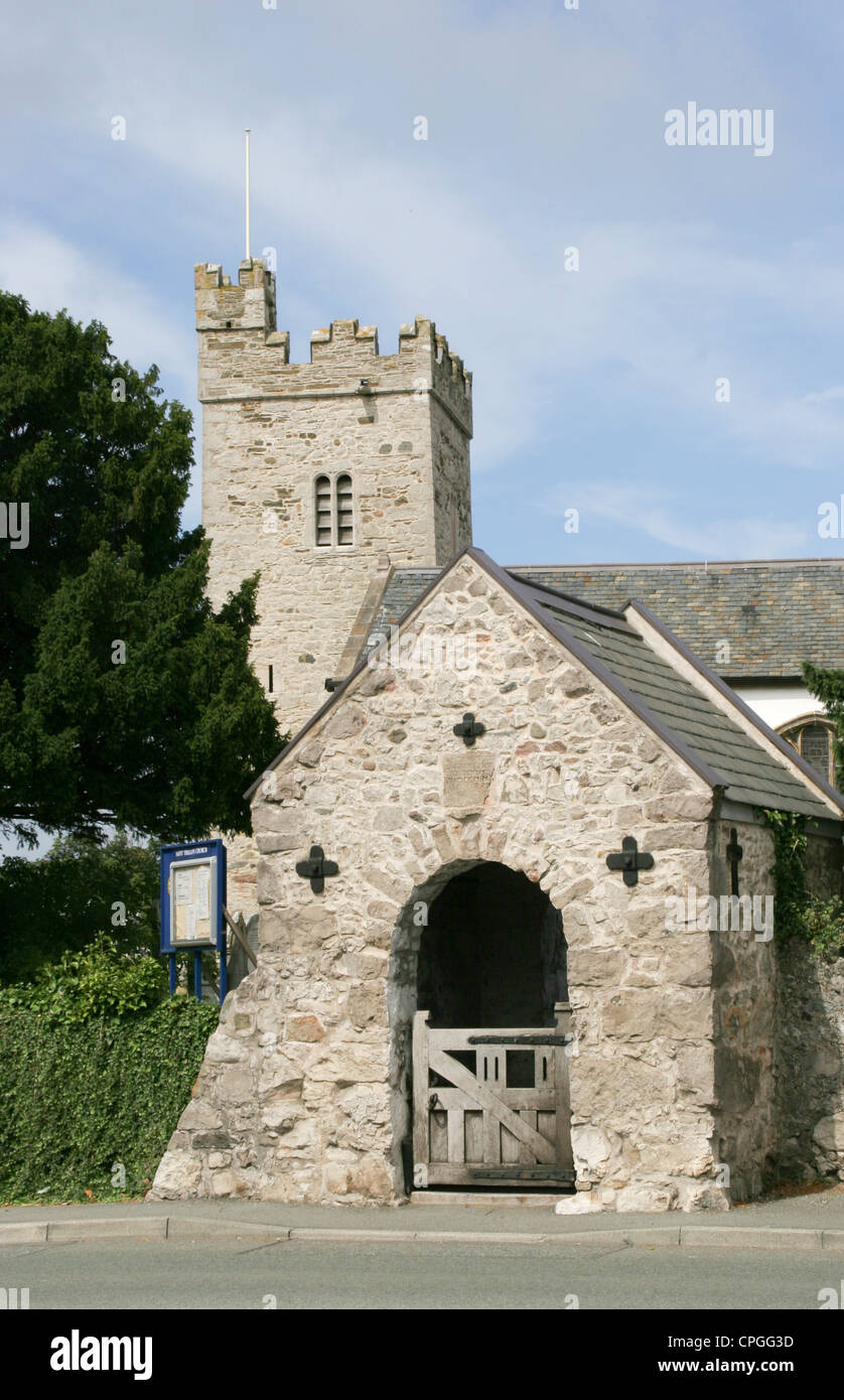 Llandrillo church and lych gate Rhos on Sea Conway Wales - Stock Image