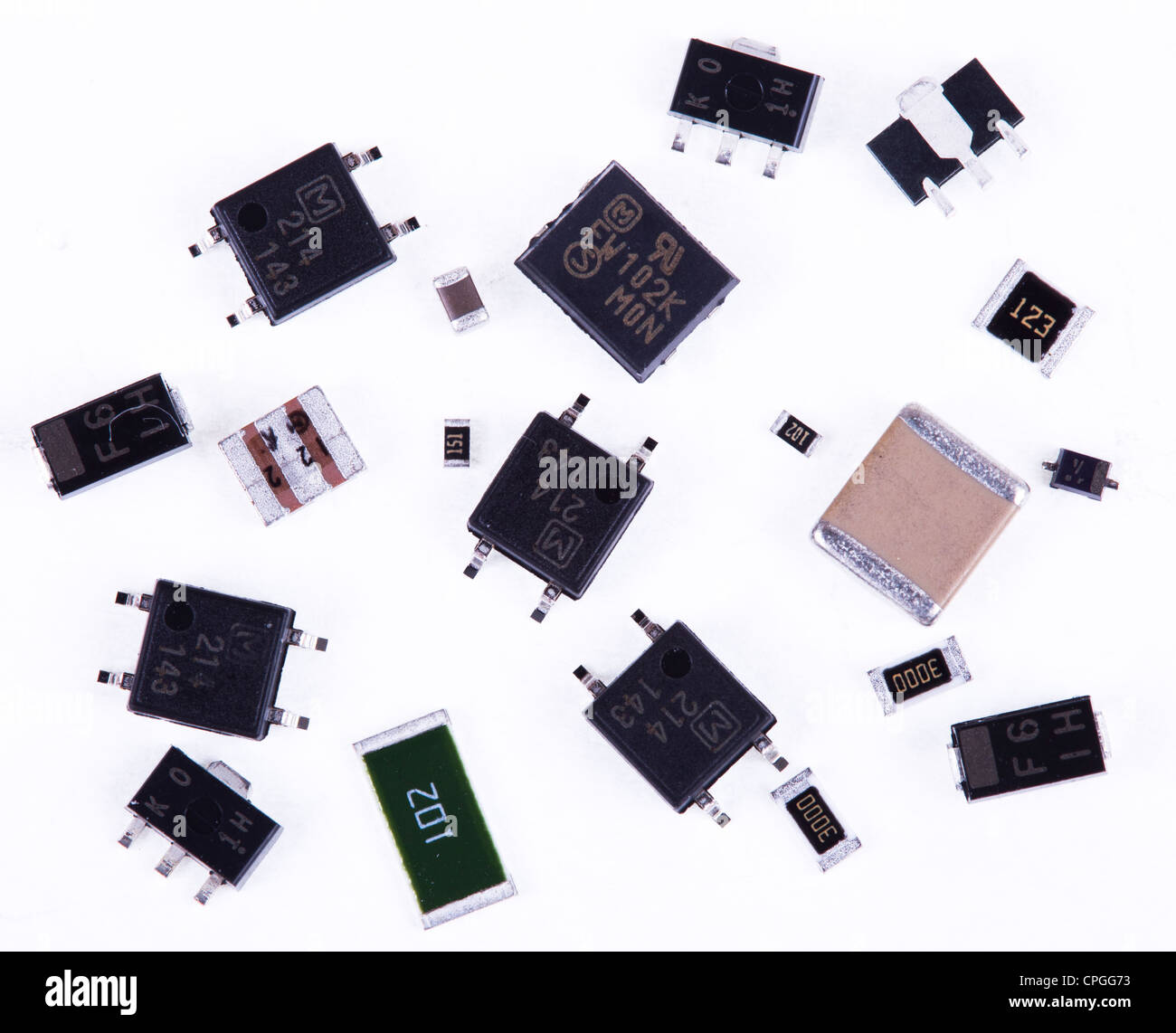 SMT SMD components used in the electronics industry in the assembly of printed circuit boards PCB's. - Stock Image