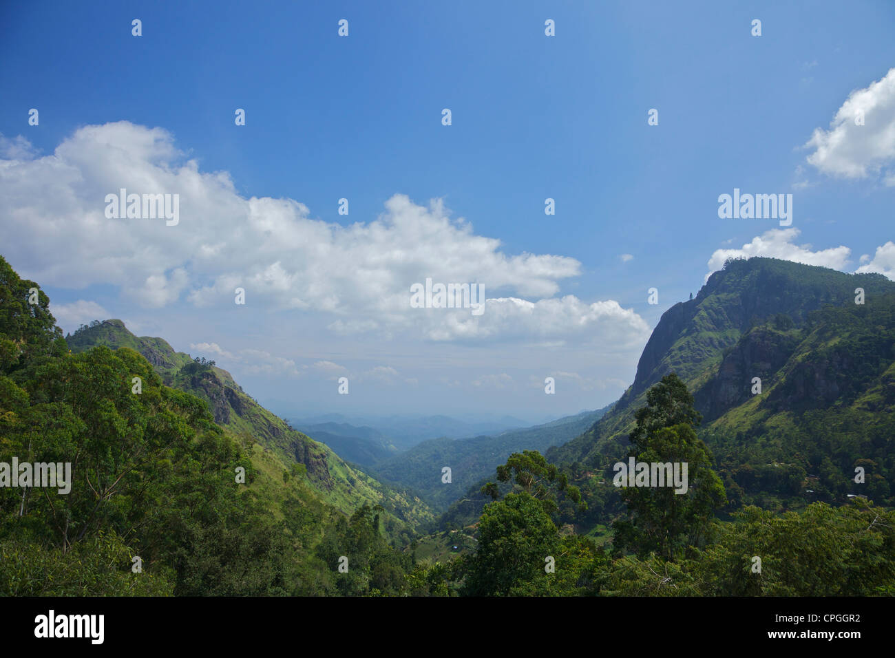 Scenic view of Sri Lankan hill country from Ella Hotel restaurant, Sri Lanka, Asia - Stock Image