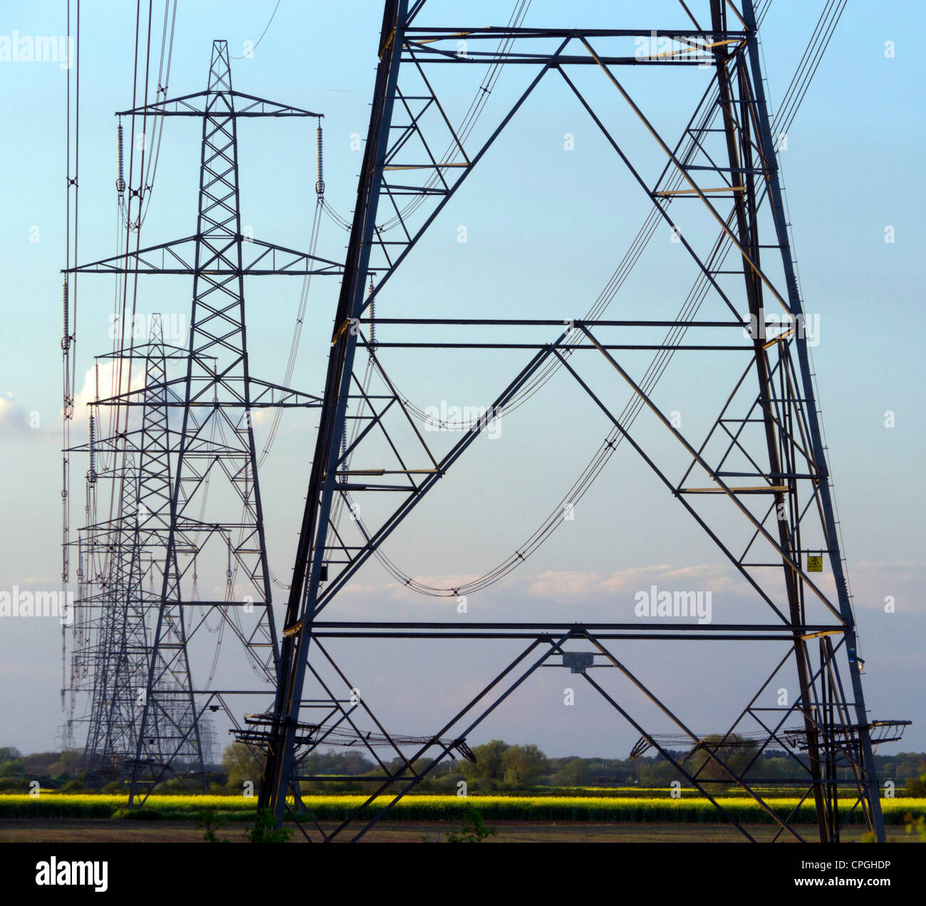 Electricity pylons, the National Grid, England, UK - Stock Image