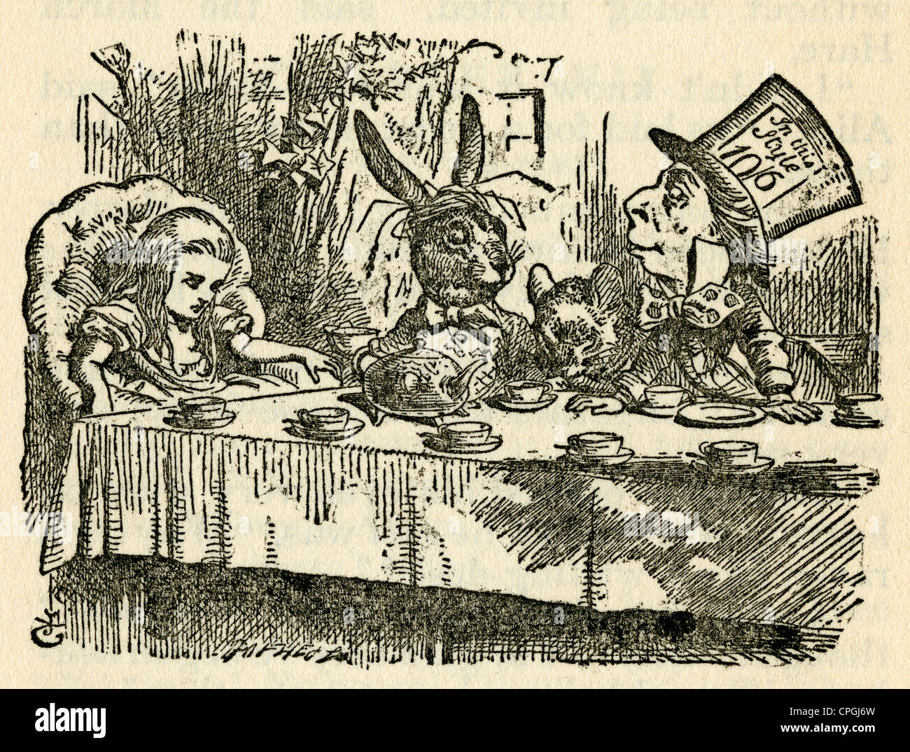 Circa 1910s edition of Alice in Wonderland. The Mad Hatter, March Hare, and the Dormouse at the Mad Tea-Party by - Stock Image
