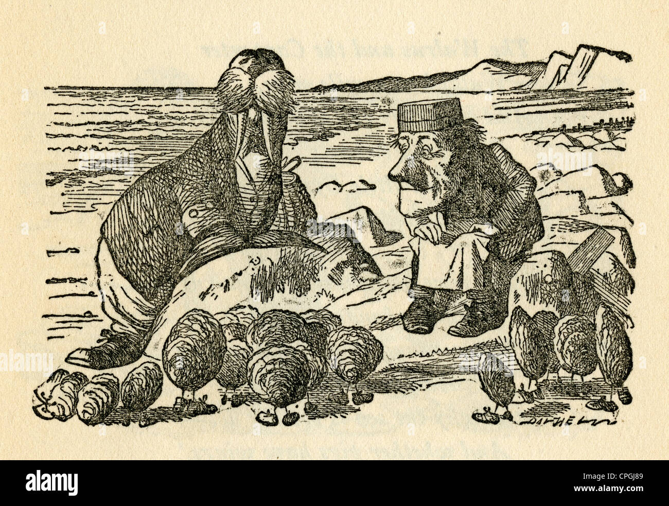 Circa 1910s edition of Alice in Wonderland. The Walrus and the Carpenter by John Tenniel. - Stock Image