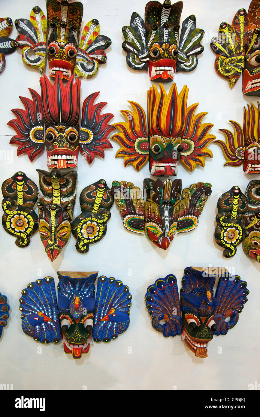 Sri Lankan carved wooden masks coloured with natural dyes, The Factory, Polonnaruwa, Sri Lanka, Asia - Stock Image