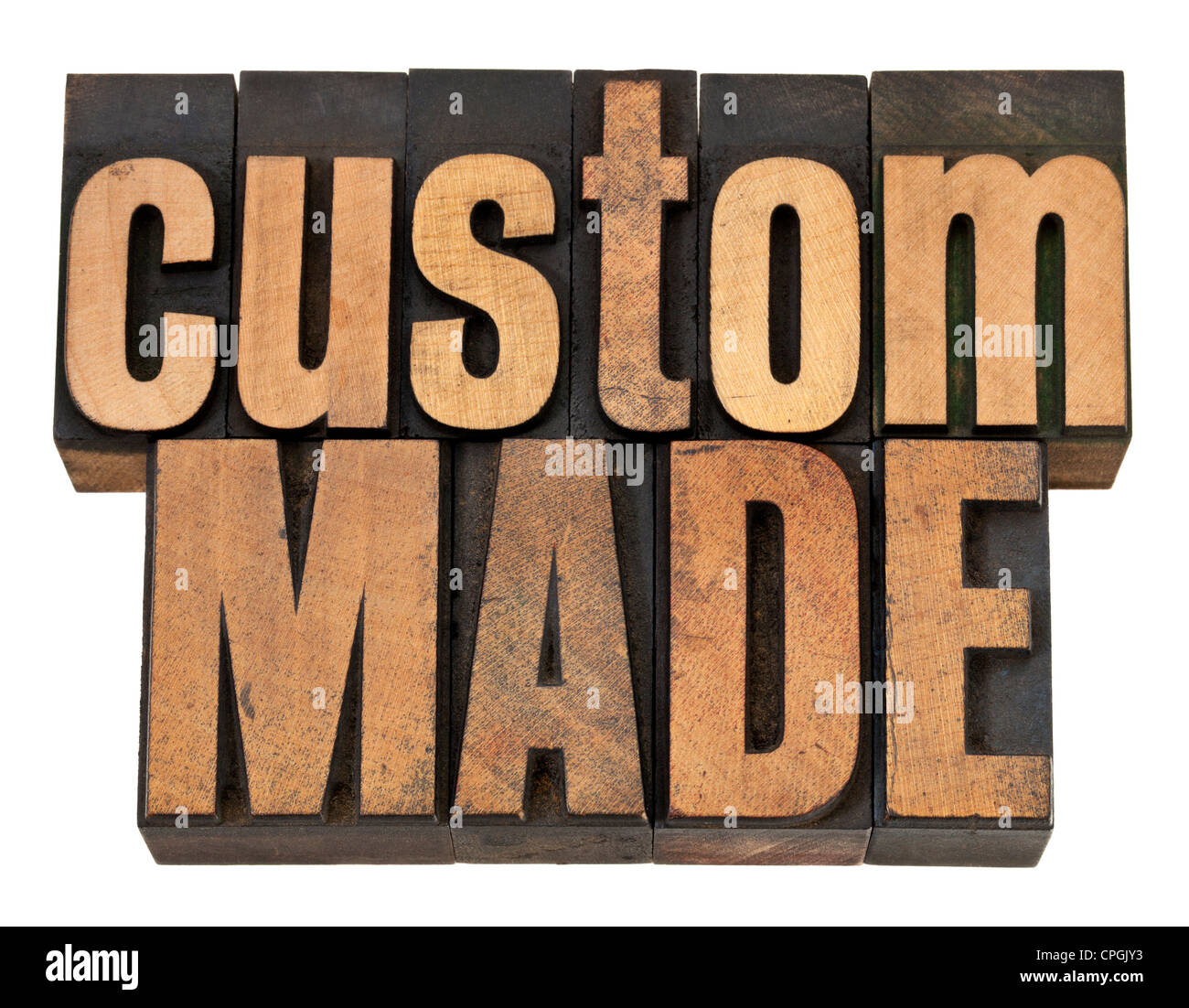 custom made - isolated text in vintage letterpress wood type - Stock Image
