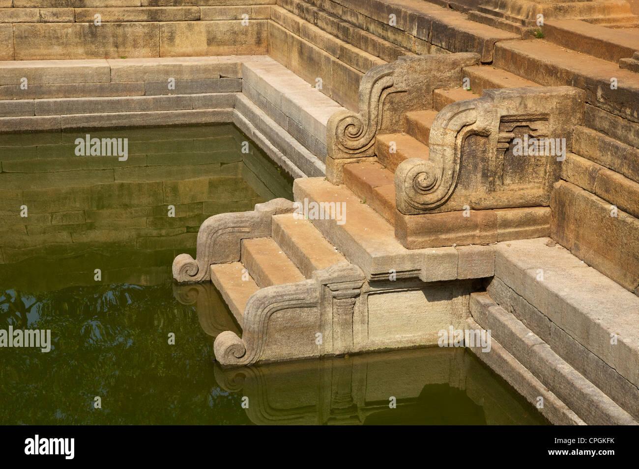Steps of the Twin Ponds, Kuttam Pokuna, Abhayagiri Complex, UNESCO World Heritage Site, Anuradhapura, Sri Lanka, - Stock Image