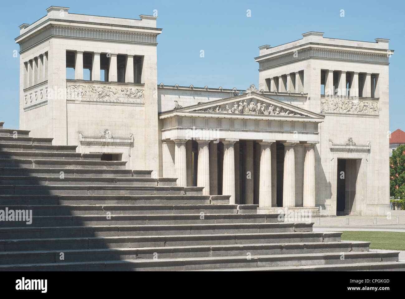 Classical Greek Architecture with Steps in the Italian style Stock
