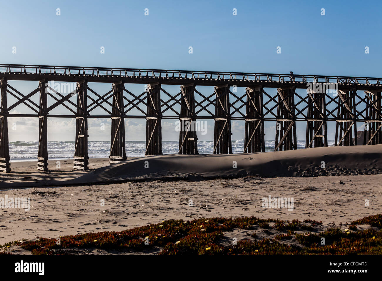 Pudding Creek Trestle on the Ten Mile Trail in Fort Bragg California Mendocino County Northern California - Stock Image