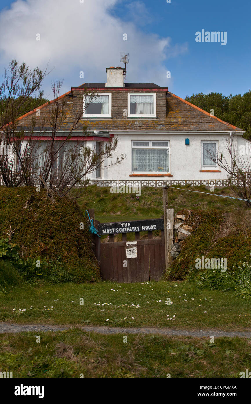The Most Southerly House on the English coast, on The Lizard Point, Cornwall - Stock Image