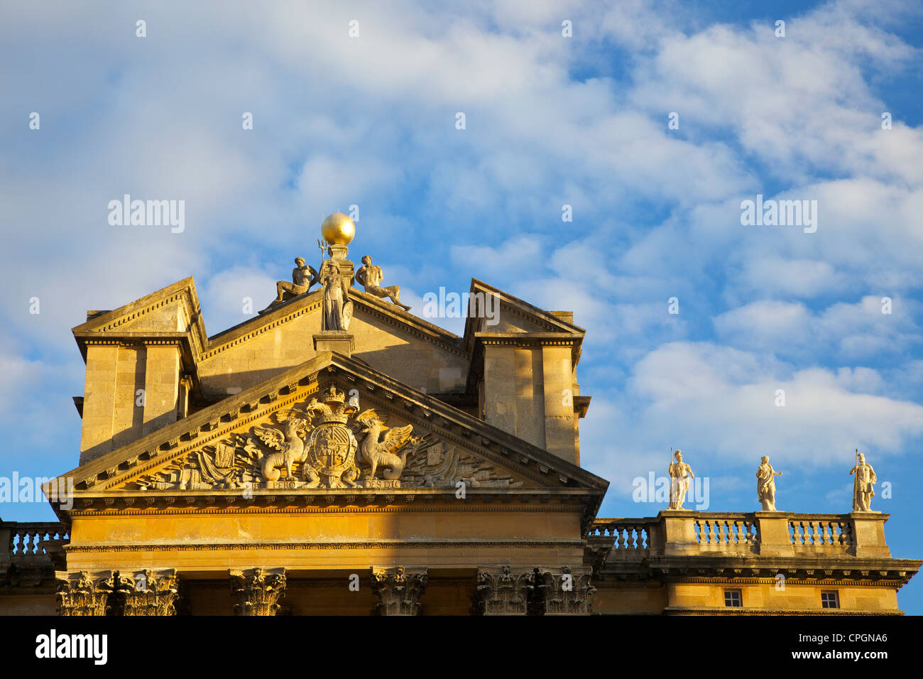 Detail of main entrance of Blenheim Palace, birthplace of Sir Winston Churchill, Woodstock, Oxfordshire, England, - Stock Image