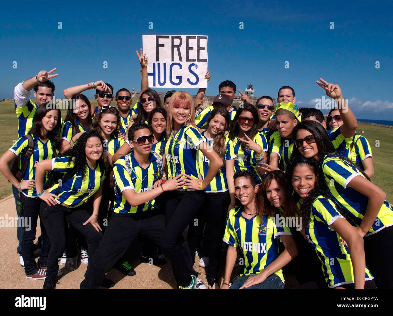 PUERTO RICO - San Juan - El Morro - High School students on an end of term outing - Stock Image