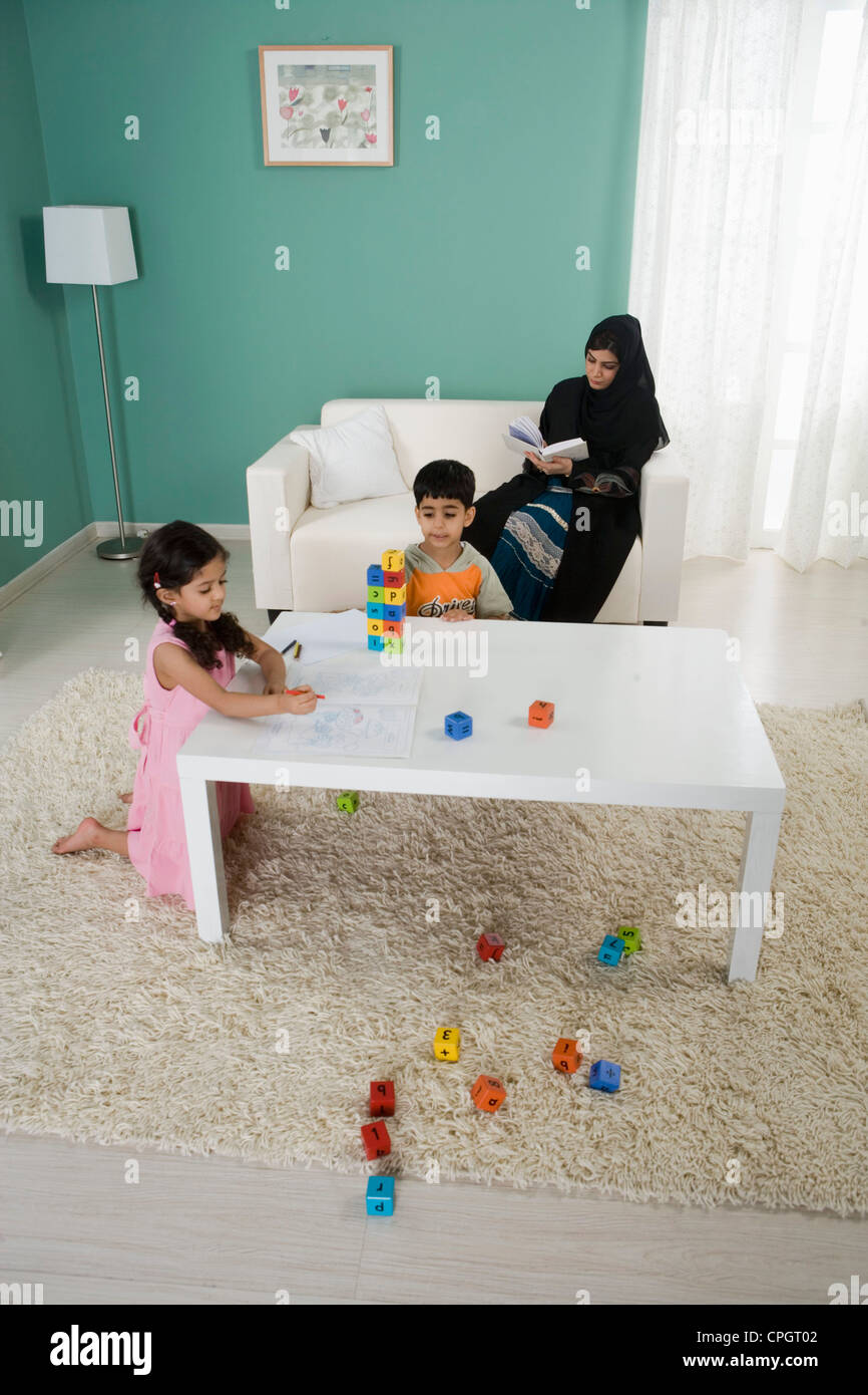 Arab Family And Indoors Stock Photos & Arab Family And