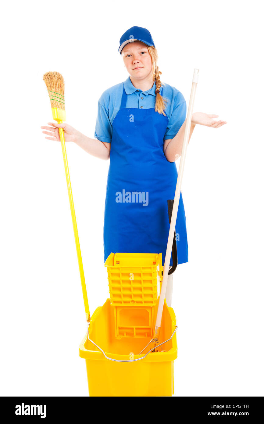 Teenage girl with mop, bucket, and broom, confused about how to do her job. Isolated on white.  - Stock Image