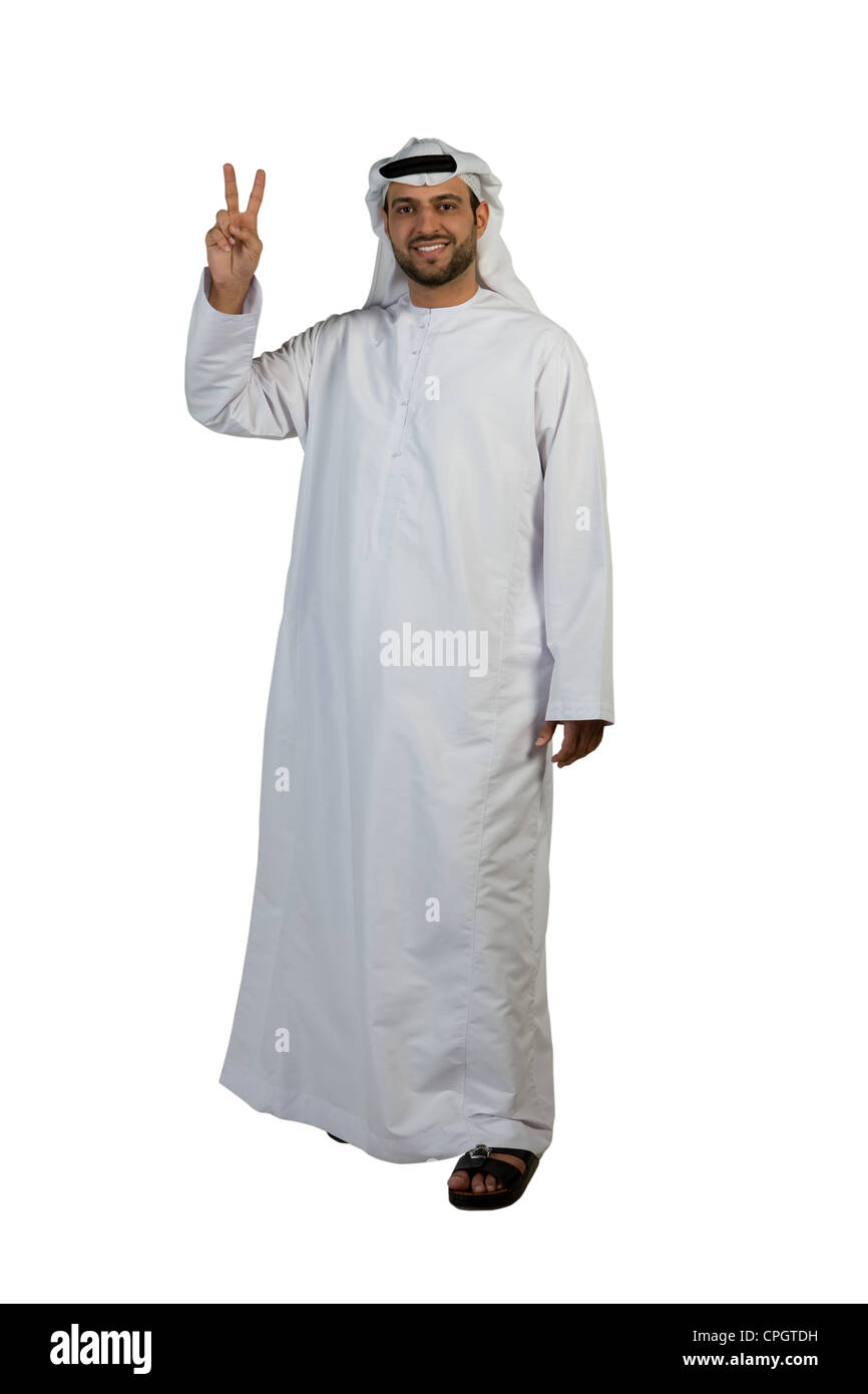 Arab man giving peace sign Stock Photo
