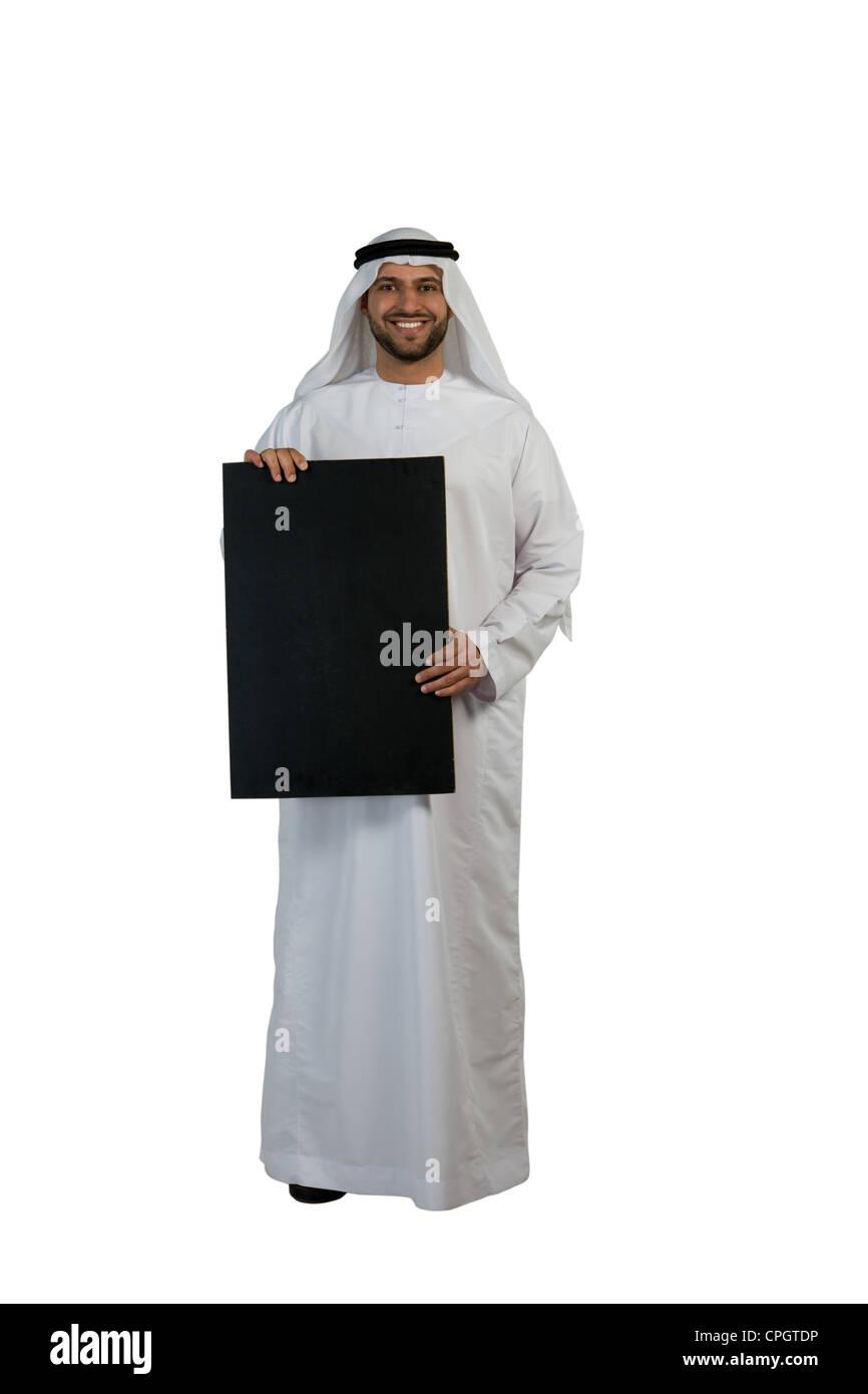 Arab man holding a placard Stock Photo