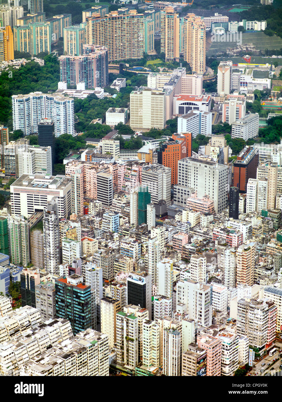 Aerial view showing the density of residential buildings in Kowloon, Hong Hong. September 2011. - Stock Image