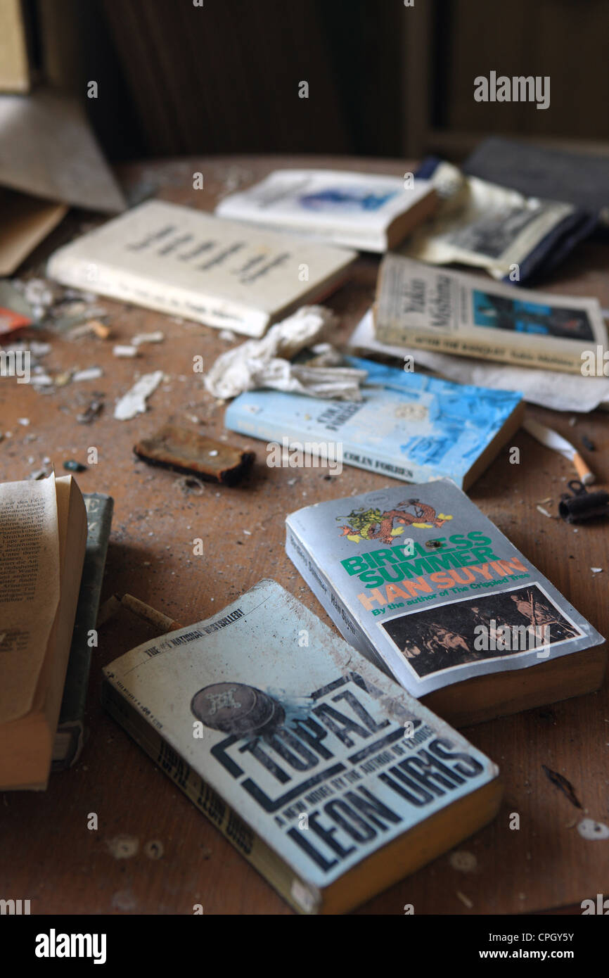 Books and cigarettes in an abandoned house - Stock Image