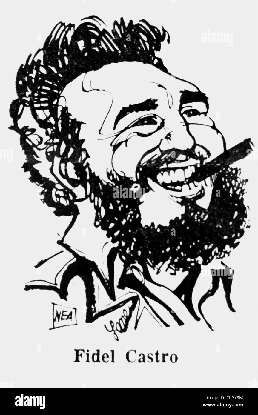 Castro Ruz, Fidel, * 13.8.1927, Cuban politician, head of state since 1959, portrait, caricature, 1970s, Additional - Stock Image